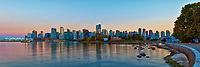 Vancouver Skyline Panorama taken in the late evening from Stanley Park