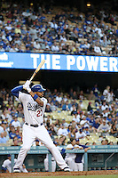 Los Angeles Dodgers center fielder Matt Kemp #27 bats against the Colorado Rockies at Dodger Stadium on July 26, 2011 in Los Angeles,California. Los Angeles defeated Colorado 3-2.(Larry Goren/Four Seam Images)