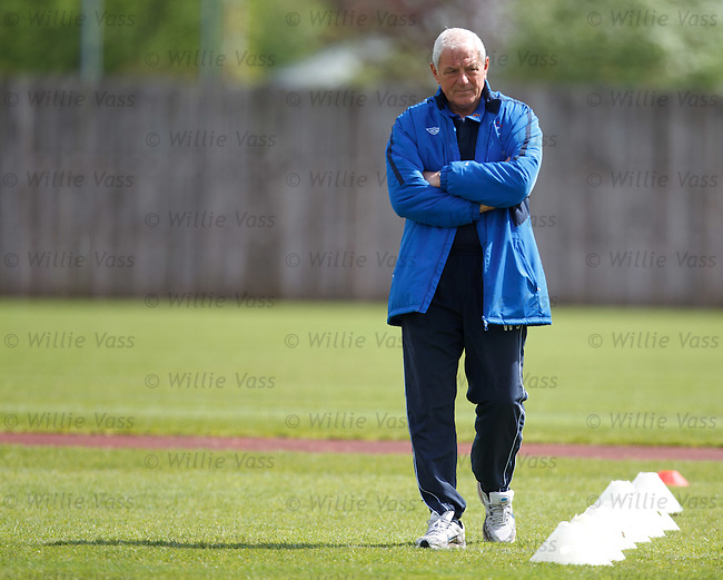 Walter Smith prownling along the line of cones