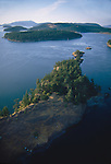 San Juan Islands, aerial, Lopez Sound, Ram Island, Washington State, Pacific Northwest,