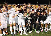 Players of D.C. United during the final round of the Carolina Challenge Cup against Toronto FC on March 12 2011 at Blackbaud Stadium in Charleston, South Carolina. D.C. The game ended in a 2-2 tie which was sufficient for D.C. United to win the tournament.
