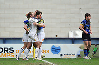 Jonathan Evans of Bath Rugby celebrates with team-mates after scoring a try in the second half. Aviva Premiership match, between Worcester Warriors and Bath Rugby on February 13, 2016 at Sixways Stadium in Worcester, England. Photo by: Patrick Khachfe / Onside Images