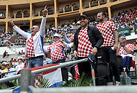 BOGOTA - COLOMBIA – 15 – 09 -2019: Fanáticos de Croacia, durante partido de la Copa Davis entre los equipos de Colombia y Croacia, partidos por el ascenso al Grupo Mundial de Copa Davis por BNP Paribas, en la Plaza de Toros La Santamaria en la ciudad de Bogota. / Fans of Croatia, during a Davis Cup match between the teams of Colombia and Croatia, match promoted to the World Group Davis Cup by BNP Paribas, at the La Santamaria Ring Bull in Bogota city. / Photo: VizzorImage / Luis Ramirez / Staff.