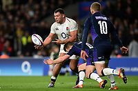 Ellis Genge of England passes the ball. Guinness Six Nations match between England and Scotland on March 16, 2019 at Twickenham Stadium in London, England. Photo by: Patrick Khachfe / Onside Images