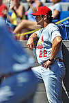 12 March 2012: St. Louis Cardinals Manager Mike Matheny watches play from the dugout during a Spring Training game against the Washington Nationals at Space Coast Stadium in Viera, Florida. The Nationals defeated the Cardinals 8-4 in Grapefruit League play. Mandatory Credit: Ed Wolfstein Photo