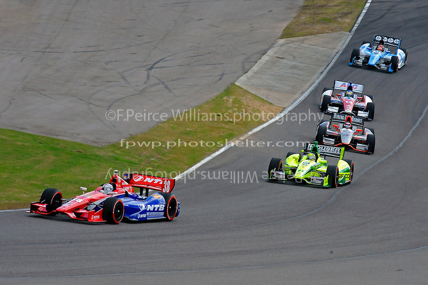 Graham Rahal (#38) leads Tony Kanaan (#11), J. R. Hildebrand (#4), Mike Conway (#14) and Simon Pagenaud (#77).