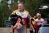 Mar 16, 2014; Gainesville, FL, USA; NHRA top fuel dragster driver Doug Kalitta celebrates after winning the Gatornationals at Gainesville Raceway Mandatory Credit: Mark J. Rebilas-USA TODAY Sports