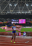 Phyllis FRANCIS (USA) celebrates winning with her flag in the womens 400m final. IAAF world athletics championships. London Olympic stadium. Queen Elizabeth Olympic park. Stratford. London. UK. 09/08/2017. ~ MANDATORY CREDIT Garry Bowden/SIPPA - NO UNAUTHORISED USE - +44 7837 394578