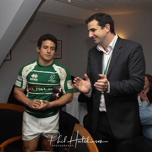 Man of the Match JUAN SOCINO . talks to NRFC Club Chief Executive SIMON BEATHAM ....  NOTTS (25) v (25) PIRATES ..... OCT 2011 ..... MEADOW LANE