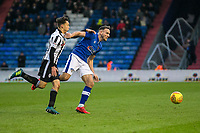 Oldham Athletic's Dan Gardner and Rochdale's Ollie Rathbone battling with each other during the Sky Bet League 1 match between Oldham Athletic and Rochdale at Boundary Park, Oldham, England on 18 November 2017. Photo by Juel Miah/PRiME Media Images
