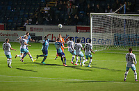 Adebayo Akinfenwa of Wycombe Wanderers comes in to score his goal during the The Checkatrade Trophy match between Wycombe Wanderers and West Ham United U21 at Adams Park, High Wycombe, England on 4 October 2016. Photo by Kevin Prescod.