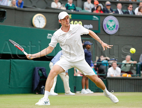 02.07.2016. All England Lawn Tennis and Croquet Club, London, England. The Wimbledon Tennis Championships Day Six.  John Millman (AUS) hits a forehand during his singles match against number 2 seed, Andy Murray (GBR).