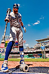 20 May 2018: Los Angeles Dodgers third baseman Justin Turner on deck during a game against the Washington Nationals at Nationals Park in Washington, DC. The Dodgers defeated the Nationals 7-2, sweeping their 3-game series. Mandatory Credit: Ed Wolfstein Photo *** RAW (NEF) Image File Available ***