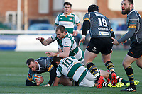 Shane O'Leary of Nottingham Rugby is tackled during the Championship Cup Quarter Final match between Ealing Trailfinders and Nottingham Rugby at Castle Bar , West Ealing , England  on 2 February 2019. Photo by Carlton Myrie / PRiME Media Images.