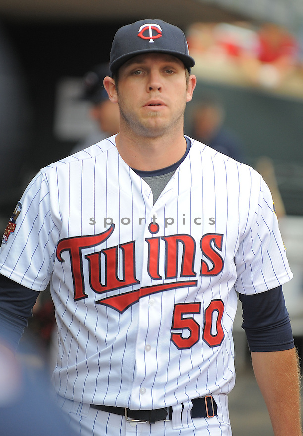 Minnesota Twins Casey Fien (50) during a game against the Kansas City Royals on August 17, 2014 at Target Field in Minneapolis, MN. The Royals beat the Twins 12-6.