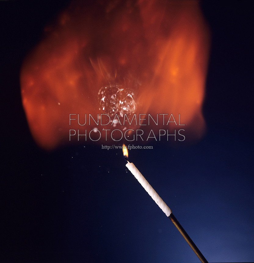 IGNITION OF HYDROGEN SOAP BUBBLES<br /> A Candle Ignites Bubbles As They Float Upward<br /> As the bubbles float upward, they are ignited using a candle on a long pole. The orange flame is due to the reaction of hydrogen with the oxygen in the air.