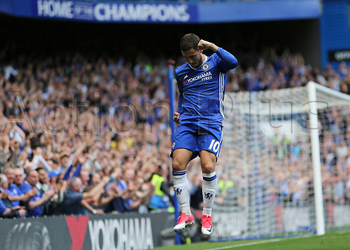May 21st 2017, Stamford Bridge, Chelsea, London,  England;  EPL Premier league football, Chelsea FC versus Sunderland; Eden Hazard of Chelsea jumps in celebration after scoring his sides 2nd goal in the 59th minute to make it 2-1