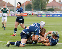 Ealing's Rhys Lawrence goes over for the try during the Greene King IPA Championship match between Ealing Trailfinders and Bedford Blues at Castle Bar , West Ealing , England  on 29 October 2016. Photo by Carlton Myrie / PRiME Media