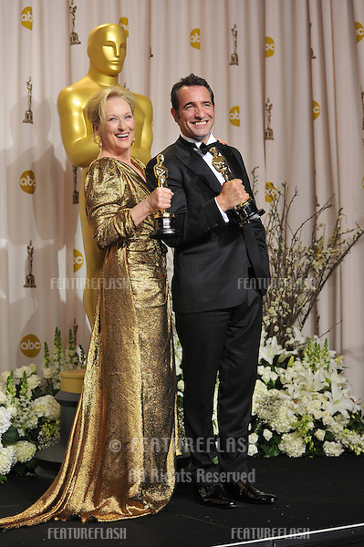 Meryl Streep & Jean DuJardin at the 82nd Academy Awards at the Hollywood & Highland Theatre, Hollywood..February 26, 2012  Los Angeles, CA.Picture: Paul Smith / Featureflash.