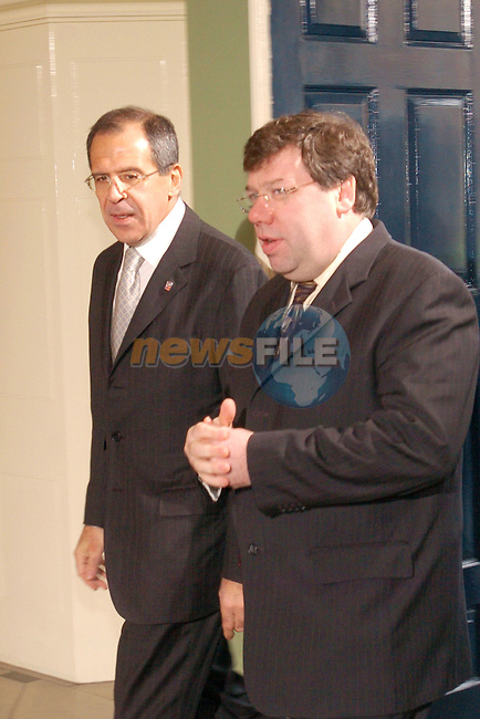 Dublin Ireland. EU - Russia Ministerial Troika Dublin Castle..Russian Foreign Minister Sergey Lavrov (L) being welcomed to Dublin by Irish Foreign Minister Brian Cowen before there meetingon Bylaterial Talks in Dublin Castle, Ireland 14th April 2004.Photo AFP/NEWSFILE/FRAN CAFFREY..(Photo credit should read FRAN CAFFREY/NEWSFILE/AFP)...This Picture has been sent you under the condtions enclosed by:.Newsfile Ltd..the Studio,.Millmount Abbey,.Drogheda,.Co Meath..Ireland..Tel: +353(0)41-9871240.Fax: +353(0)41-9871260.GSM: +353(0)86-2500958.email: pictures@newsfile.ie.www.newsfile.ie.FTP: 193.120.102.198..This picture is from Fran Caffrey@newsfile.ie
