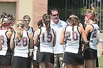 Los Angeles, CA 04/18/10 - Head Coach Brendan O'Brien, Maggie Spreitzer (SCU #23), Kendall Eder (SCU #20), Juliana Onieal (SCU #19), Eloise Callander (SCU #28) and the Santa Clara team during pre game instructions.