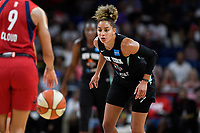 Washington, DC - August 25, 2019: New York Liberty guard Bria Hartley (14) plays defense during first half action of game between the New York Liberty and the Washington Mystics at the Entertainment and Sports Arena in Washington, DC. The Mystics defeated New York 101-72. (Photo by Phil Peters/Media Images International)