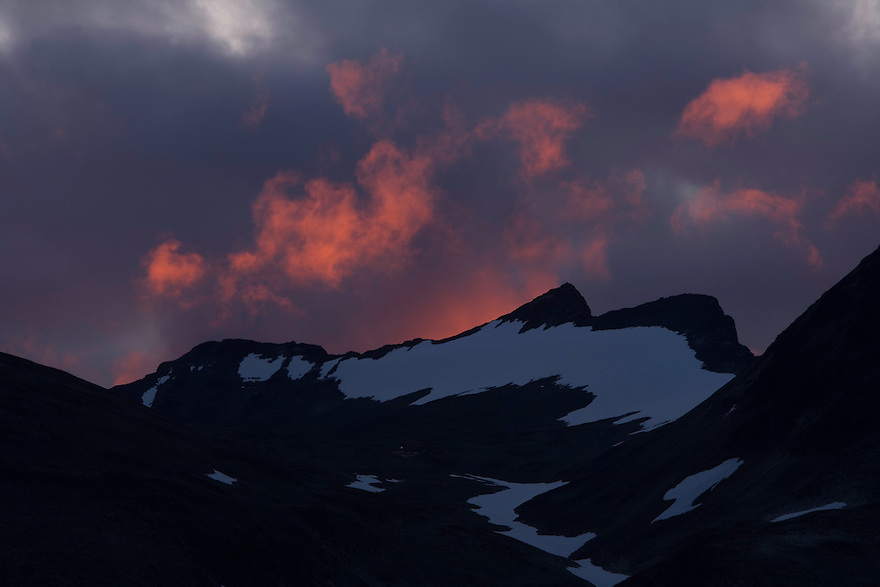 Cloud formations at sunset over Sarek National Park, Laponia World Heritage Site, Sweden