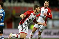 EMMEN - Voetbal, FC Emmen - De Graafschap, De  Oude Meerdijk, Jupiler League, seizoen 2017-2018, 16-02-2018,  FC Emmen speler Alexander Bannink viert de 1-0