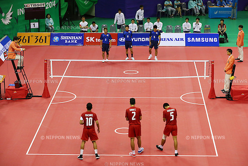 General View,<br /> SEPTEMBER 25, 2014 - Sepak takraw : <br /> Men's Team Preliminary <br /> at Bucheon Gymnasium <br /> during the 2014 Incheon Asian Games in Incheon, South Korea. <br /> (Photo by Shingo Ito/AFLO SPORT)