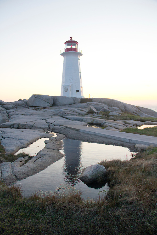 Lighthouse at Peggy's Cove Nova Scotia reflected in water