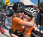 Fanny Bourdais and Amber Pearson at the Tour De Nez Bike Race in downtown Reno on Saturday, June 11, 2016.