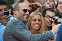 """MADRI, ESPANHA, 08 AGOSTO 2012 - PRE ESTREIA OS MERCENARIOS 2 - O ator britanico Jason Statham durante a premiere do filme """"Os Mercenarios 2"""" no Callao Cinema em Madri capital da Espanha, na noite desta quarta-feira, 08. (FOTO: BILLY CHAPPE / ALFAQUI / BRAZIL PHOTO PRESS)."""