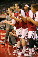 SAN ANTONIO, TX - APRIL 4: Lindy La Rocque, Michelle Harrison, Melanie Murphy and Grace Mashore of the Stanford Cardinal during Stanford's 73-66 win over Oklahoma in the Final Four semi-finals at the Alamo Dome on April 4, 2010 in San Antonio, Texas.