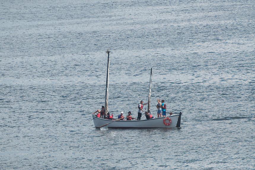 Outward Bound Pulling Boat Enters Castine Harbor, Castine, Maine, US