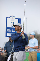 25th January 2020, Torrey Pines, La Jolla, San Diego, CA USA;  Tiger Woods watches his iron sot during round 3 of the Farmers Insurance Open at Torrey Pines Golf Club on January 25, 2020