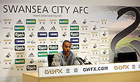 Thursday, 03 April 2014<br /> Pictured: Wayne Routledge<br /> Re: Swansea City FC press conference at the Liberty Stadium, ahead of their game against Hull.