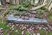 Remnants of a dwelling at the abandoned Peeling settlement (Mt. Cilley Settlement) in Woodstock, New Hampshire. Peeling was the original settlement of Woodstock, and this village was abandoned by the 1860s.
