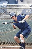 Drew Jackson (5) of the Everett AquaSox practices bunting before a game against the Spokane Indians at Everett Memorial Stadium on July 25, 2015 in Everett, Washington. Spokane defeated Everett, 10-1. (Larry Goren/Four Seam Images)