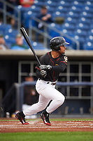 Quad Cities River Bandits outfielder Jason Martin (16) at bat during the first game of a doubleheader against the Wisconsin Timber Rattlers on August 19, 2015 at Modern Woodmen Park in Davenport, Iowa.  Quad Cities defeated Wisconsin 3-2.  (Mike Janes/Four Seam Images)