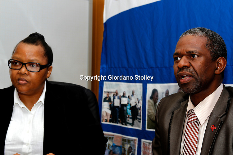 DURBAN - 23 May 2013 - The head of the KwaZulu-Natal health department Dr Sibongile Zungu (left) and the province's health MEC Dr Sibongiseni Maxwell Dhlomo announce that a maintenance contract for two state of the art cancer radiotherapy machines will resume. Payments stopped in March 2012 and the machines were shut down in January 2013 after the contractor stopped servicing them, leaving patients without the much needed care. Picture: Giordano Stolley