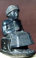 World Civilization:  Seated statue of Gudea, a ruler of Lagash.  Tello, ancient Girsu.Neo-Sumerian period (c. 2125-2110 BC).  Louvre, Paris.