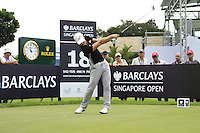 Hong Soon-sang (KOR) tees off on the 18th tee before thunder stopped play during Friday's Round 2 of the 2011 Barclays Singapore Open, Singapore, 11th November 2011 (Photo Eoin Clarke/www.golffile.ie)