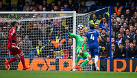 Goalkeeper Heurelho Gomes of Watford makes a save from Cesc Fabregas of Chelsea during the Premier League match between Chelsea and Watford at Stamford Bridge, London, England on 21 October 2017. Photo by Andy Rowland.