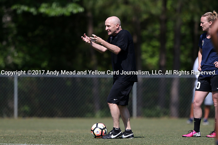 CARY, NC - APRIL 20: Head coach Paul Riley (ENG). The North Carolina Courage held a training session on April 20, 2017, at WakeMed Soccer Park Field 7 in Cary, NC.