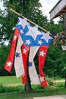 Abstract American flag banner blowing in the wind.  Cedarville  Michigan USA