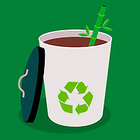 Recyclable disposable cup and straw