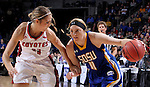 SIOUX FALLS, SD - MARCH 8:  Madison Guebert #11 of South Dakota State drives on Caitlin Duffy #33 of South Dakota during the women's championship game of the 2016 Summit League Tournament at the Denny Sanford Premier Center in Sioux Falls, S.D. (Photo by Dick Carlson/Inertia)