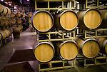 Racks of oak wine barrells, Amador Vintners' Behind the Cellar Door wine eduction seminars and food at various Amador County wineries--Montevina Winery