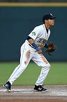 Shortstop Edgardo Fermin (10) of the Columbia Fireflies plays defense in a game against the Augusta GreenJackets on Saturday, April 7, 2018, at Spirit Communications Park in Columbia, South Carolina. Augusta won, 6-2. (Tom Priddy/Four Seam Images)