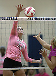 Marymount's Erin Allison attacks the ball during a college volleyball match against Shenandoah at Marymount University in Arlington, Vir., on Tuesday, Oct. 8, 2013.<br /> Photo by Cathleen Allison
